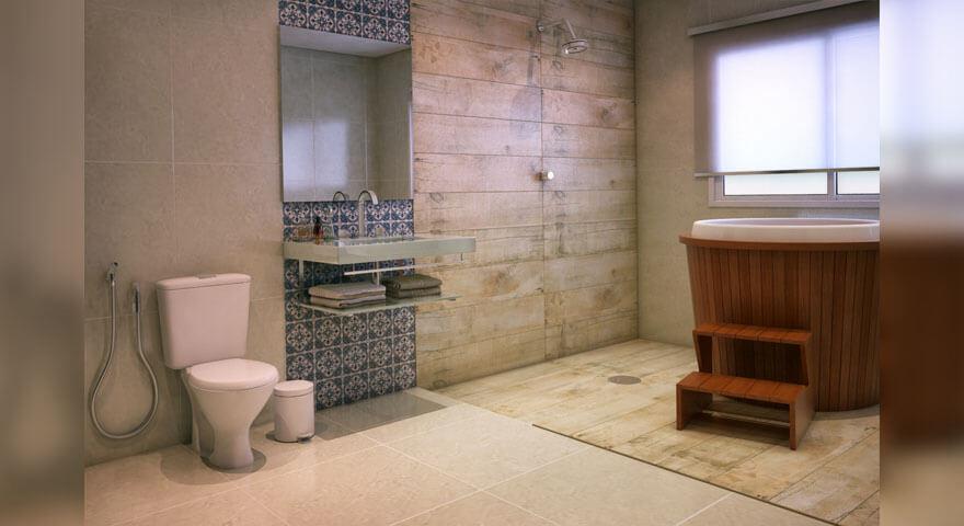 madeira com um tom mais branco no banheiro
