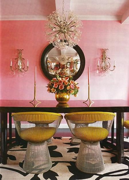 Amarelo e rosa juntos em uma decoração