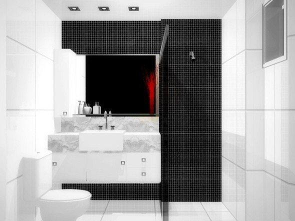 Banheiro com fundo preto e paredes em branco