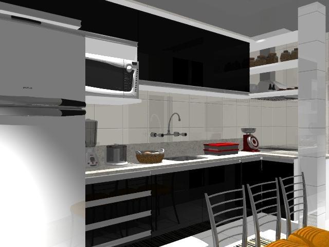 Cozinha com decoração preto e branco