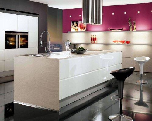 Cozinha com decoração rosa