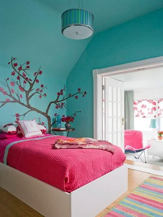 Decoração rosa e verde no seu quarto