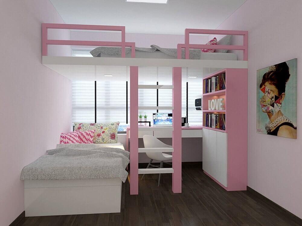 Decoração rosa em quarto de solteiro