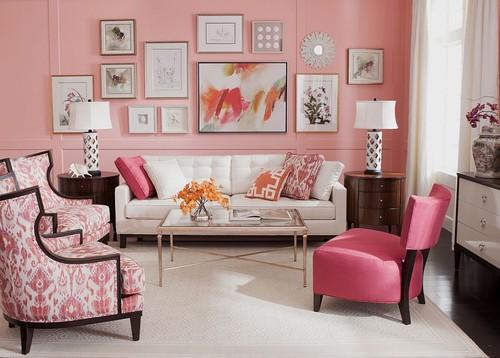 Parede incluida na decoração rosa comquados
