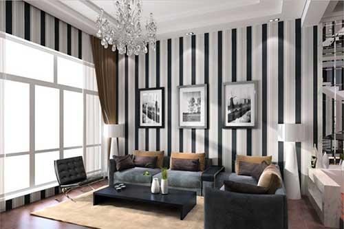 Paredes da sala com listras pretas e brancas para decorar