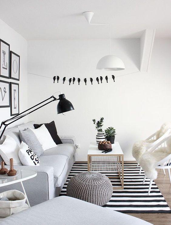 Preto e branco no tapete da sala