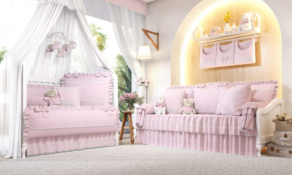Quarto com decoração rosa
