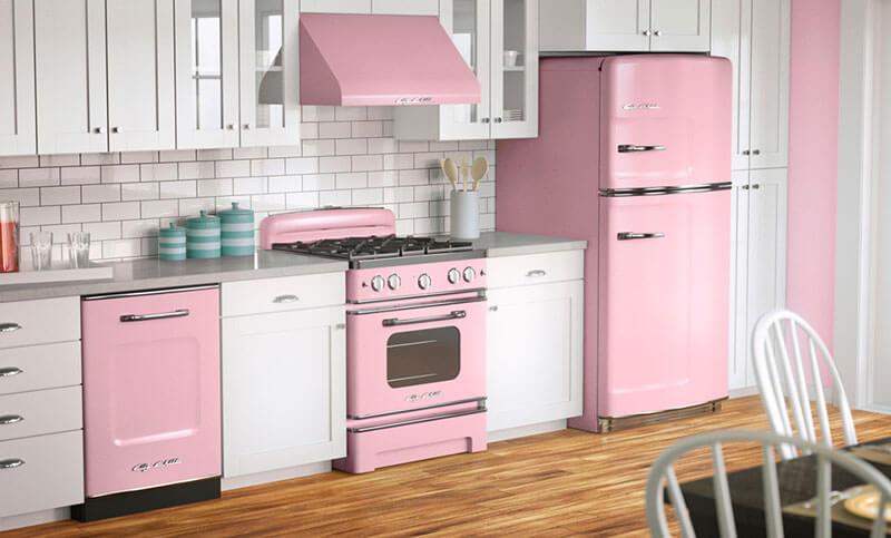Rosa neutro nos móveis da cozinha