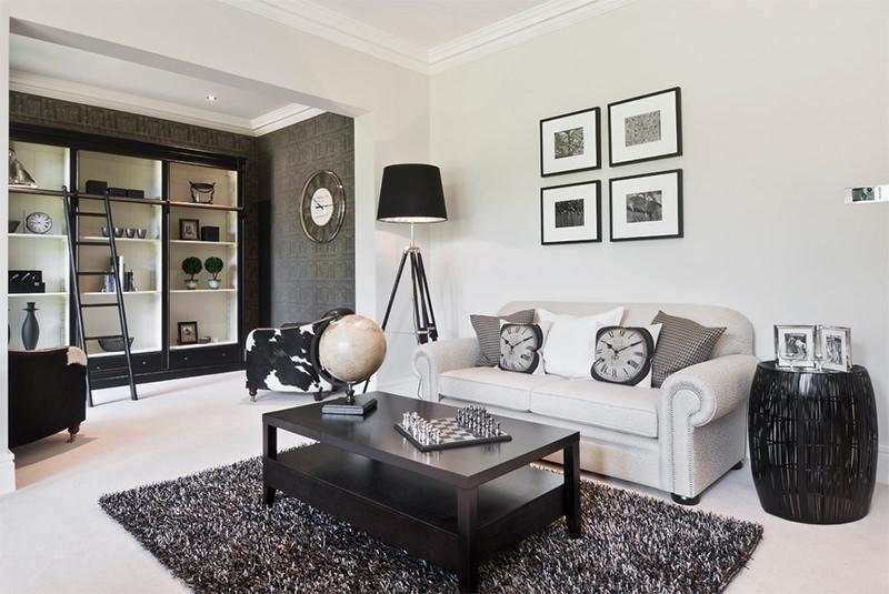 Simples sala decorada em preto e branco para voce