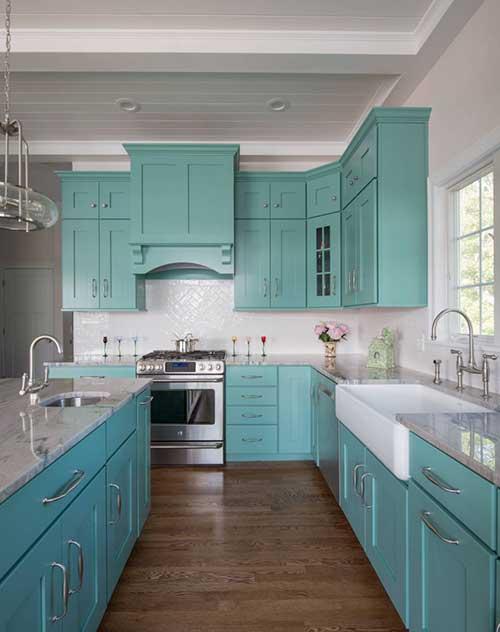 armarios da cozinha pintados em azul