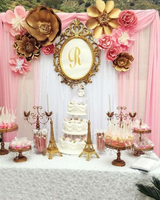 decorando com rosa e dourado