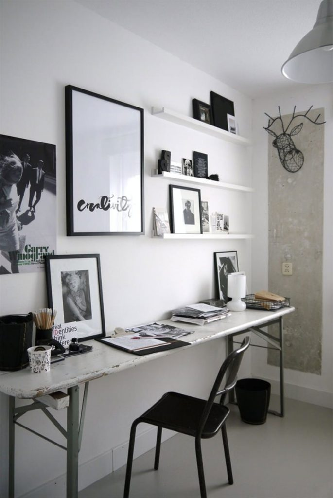 escritorio no quarto com decoracao preto e branco