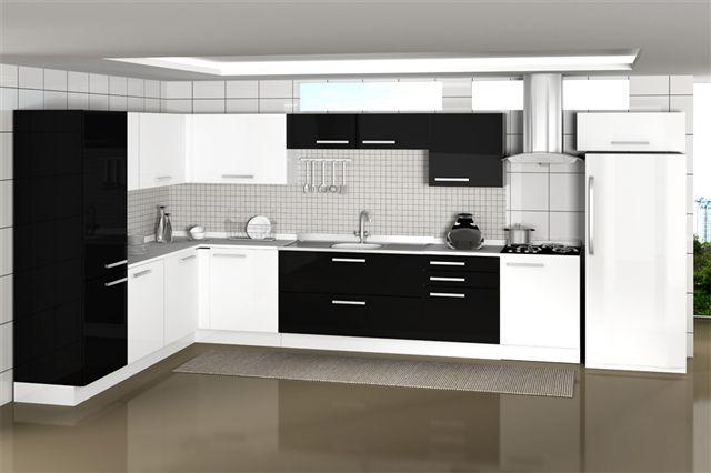 geladeira branca com armarios pretos combinando na cozinha
