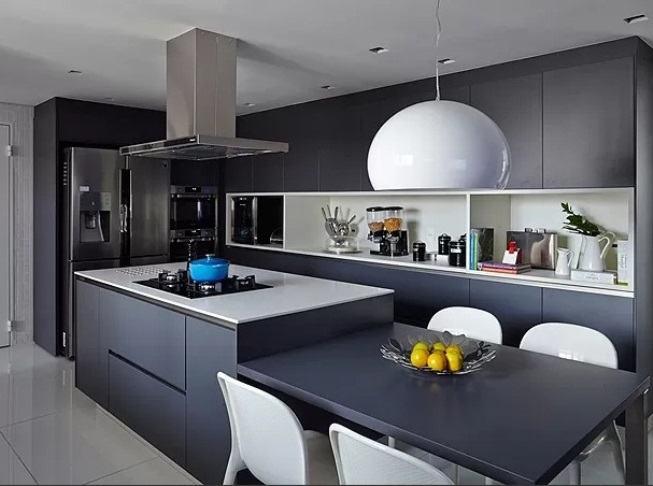 luminaria esfériaca moderna na cozinha