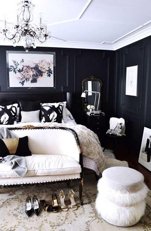 preo e branco dominando a decoração do quarto
