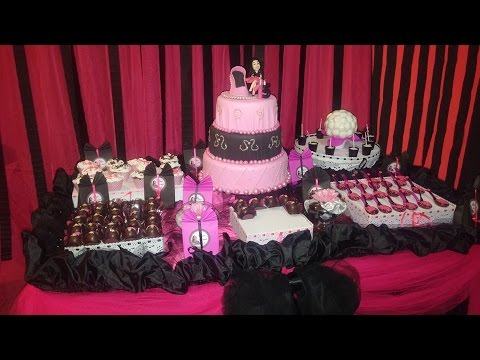 rosa e preto na decoração de aniversário