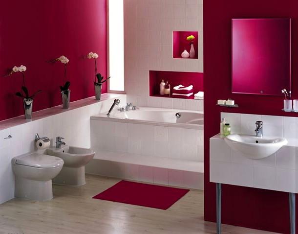 A decoração do banheiro sendo feita com a cor fucsia