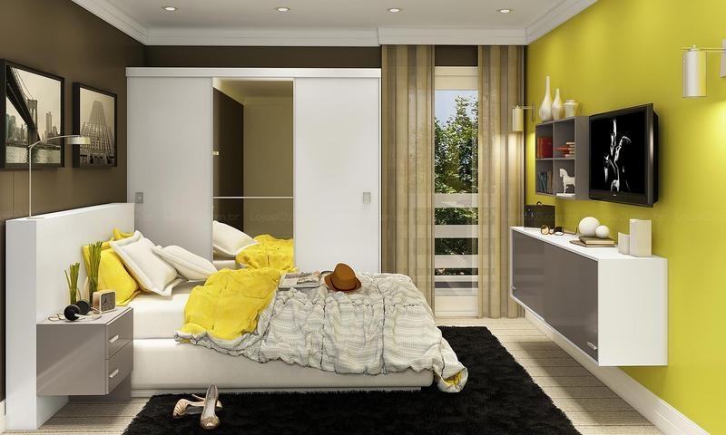 Amarelo e branco na decoração do quarto