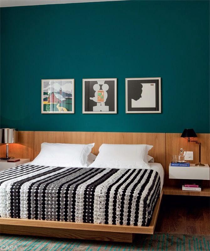 Azul fraco petroleo na sua decoração de quarto de casal