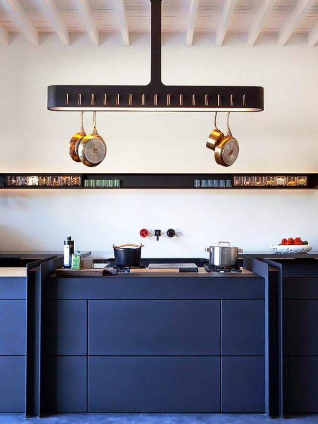 Balcão da cozinha em azul petoleo