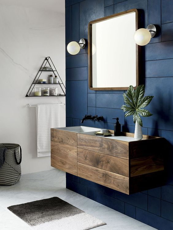 Cor petroleo azulado no banheiro