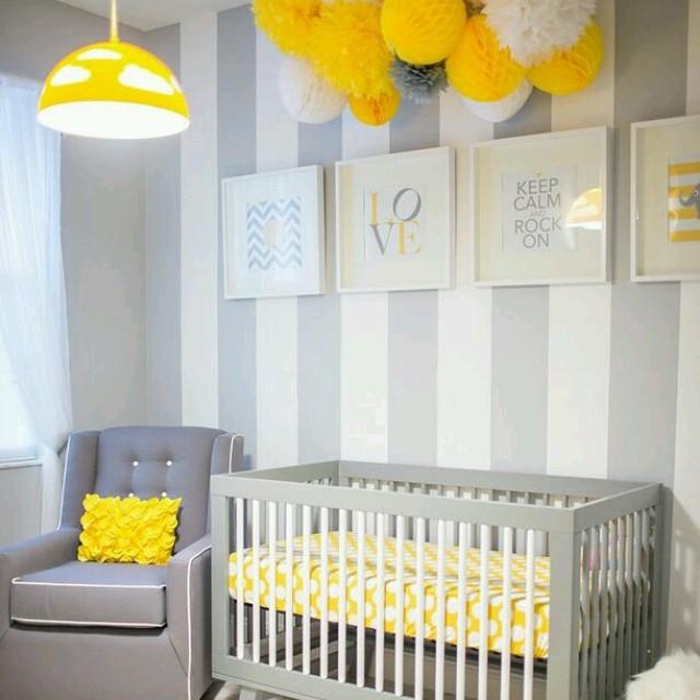 Decoração do quarto com amarelo voltada para bebes