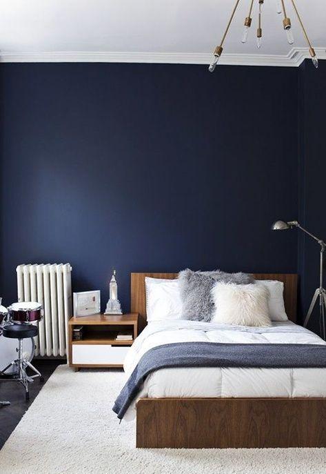 Parede do quarto em total azul petroleo
