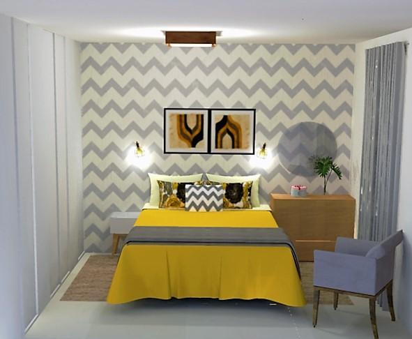 Quarto amarelo de casal com listras em zigue zague na parede