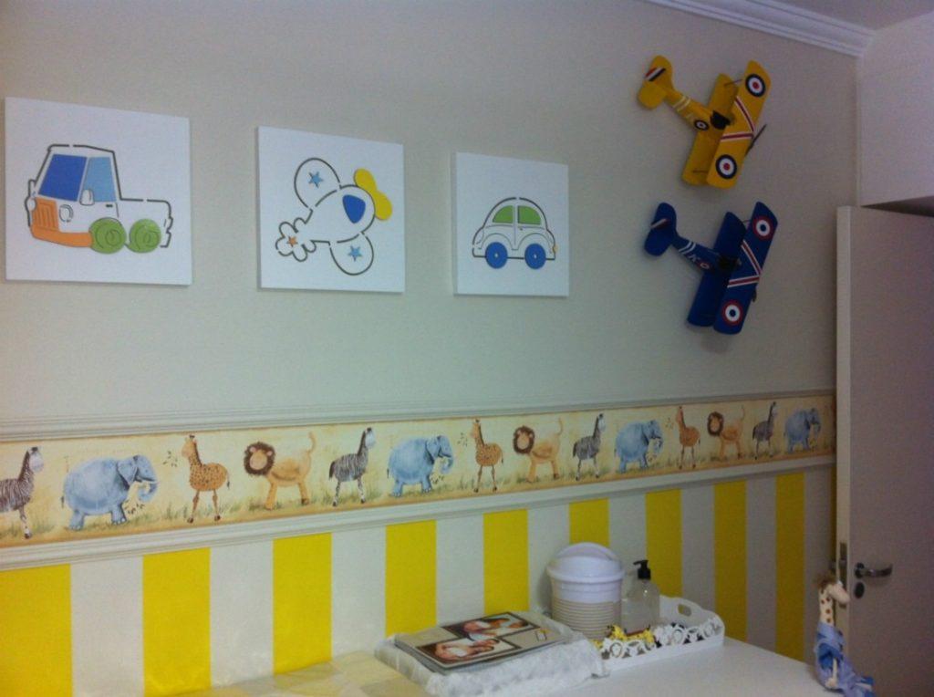 Quarto infantil com lindas listras amarelas