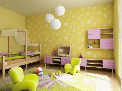 Quarto infantil com uma linda decoração amarela