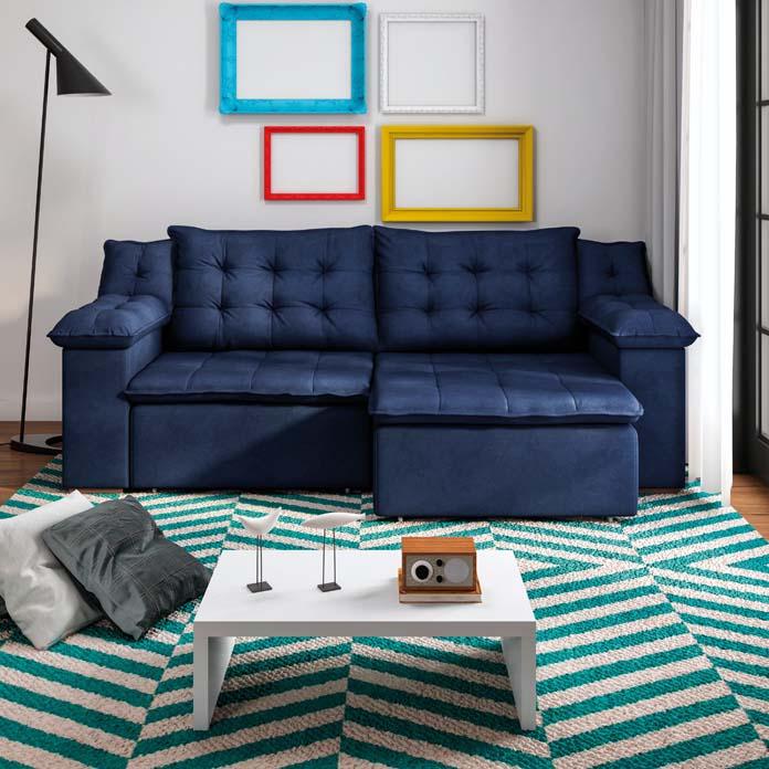 Sofá azul petrolea na sua sala