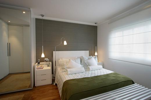 quarto branco com cinza e verde para combinar