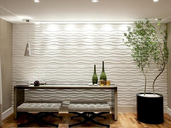 Ceramica ondulada e modelada de forma linda na cor branca