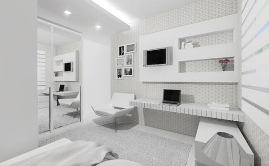Parede branca decorada com lindas luzes no teto