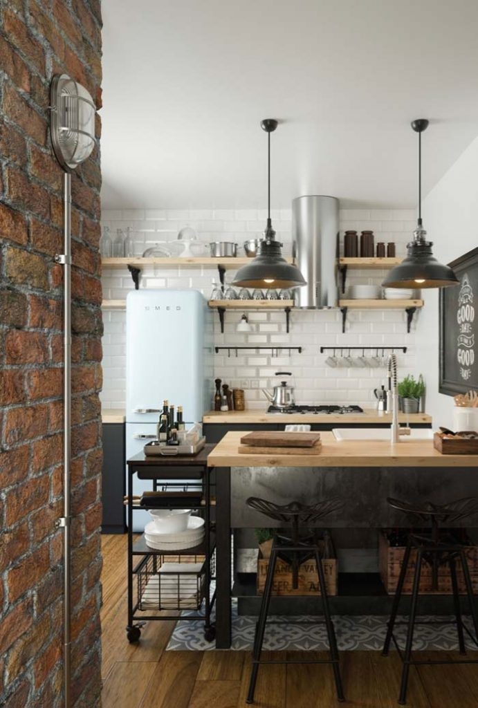 Parede da cozinha rustica e branca