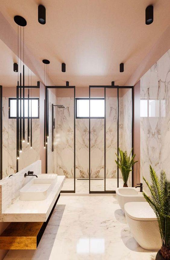 banheiro moderno com entrada em vidro