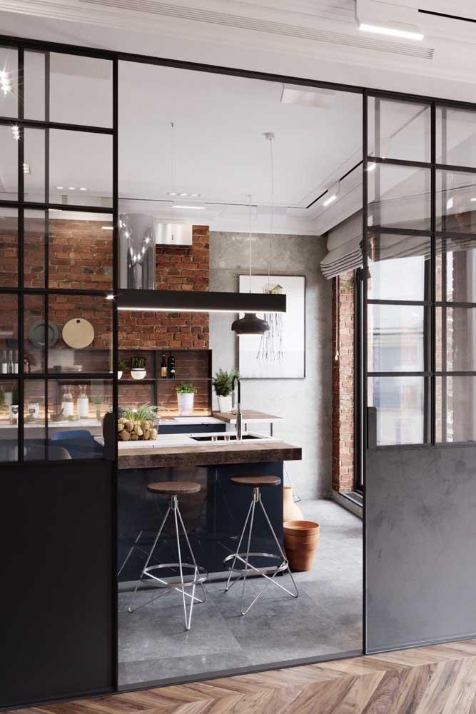 porta de ferro com vidro para cozinha