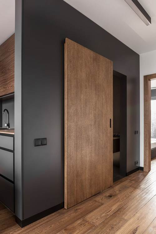 porta de mateira com vidro para a sala e parede preta