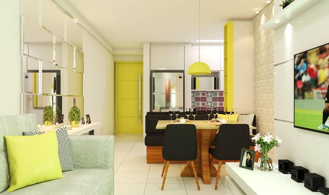 Cozinha no estilo americano juntamente com uma sala simples