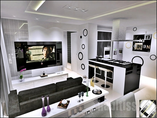 Sala pequena em conjunto com cozinha americana