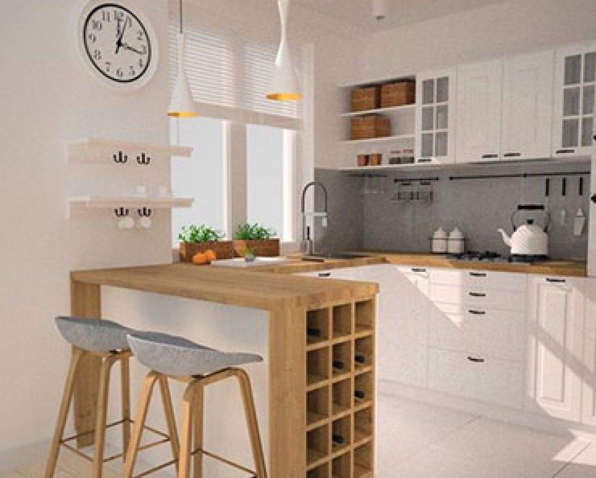 cozinha americana com sala simples e adega embutida