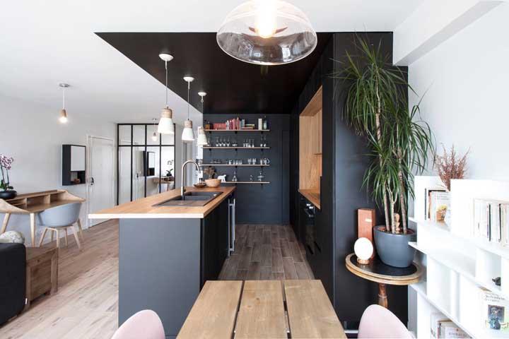 cozinha no estilo americano em preto