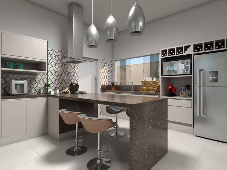 marmore marrom no balcao da cozinha