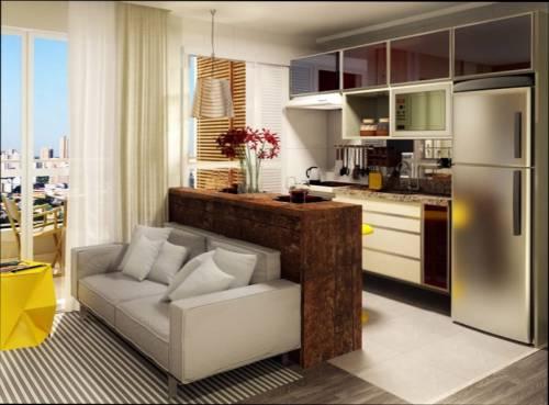 sala e cozinha divididas no medelo americano