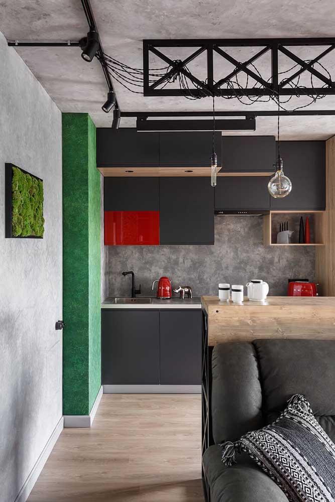 sala simples em conjunto com cozinha americana