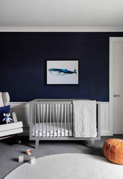 Quartto de bebe azul amrinho na parede