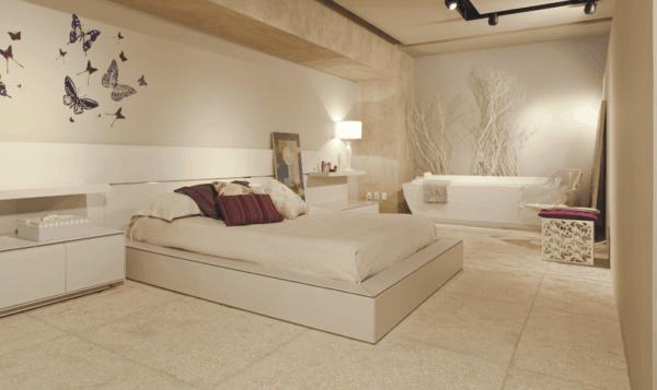 Usando cerâmica branca para a decoração de um quarto