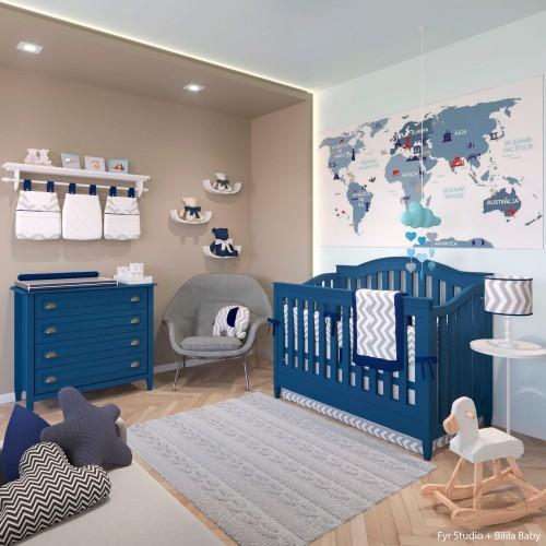 azul marinho cinza e marrom no quarto de bebe