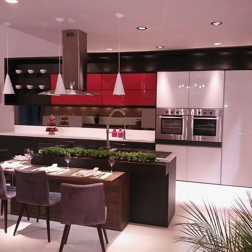 coifa e plantas na cozinha com ilha