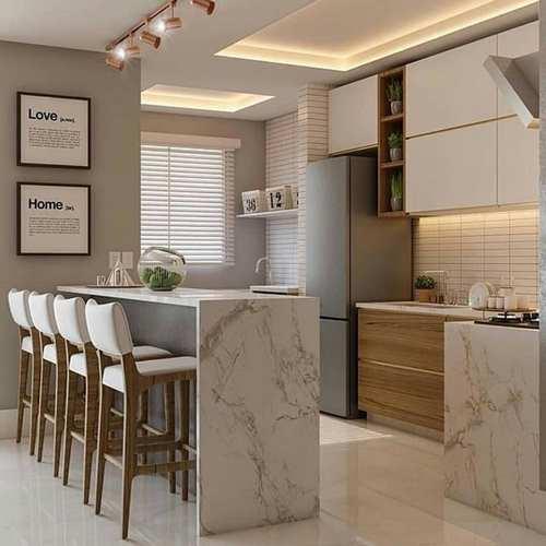 ilha pequena de marmore na cozinha